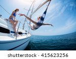 two women relax on the sail... | Shutterstock . vector #415623256