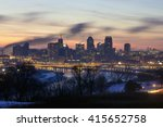 A Long Exposure Winter Dusk Shot of the Twin Cities, St. Paul in the Foreground and Minneapolis in the Background, from the Famous Indian Burial Mound Park Vantage Point