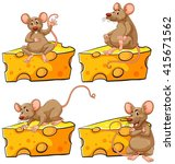 four poses of mouse and cheese... | Shutterstock .eps vector #415671562