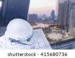 engineer helmet with plan for... | Shutterstock . vector #415680736