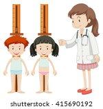 boy and girl measuring height...   Shutterstock .eps vector #415690192