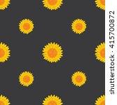 seamless yellow flower on black ... | Shutterstock .eps vector #415700872