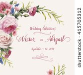 Stock vector greeting card with roses watercolor can be used as invitation card for wedding birthday and 415705312