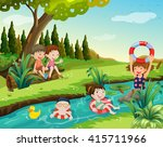 children swimming in the river... | Shutterstock .eps vector #415711966