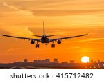 airplane is landing during a...   Shutterstock . vector #415712482