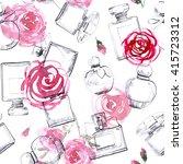 perfume bottles with rose...   Shutterstock . vector #415723312