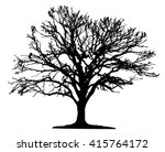 Stock vector tree silhouette on white background 415764172