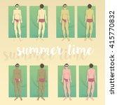 sunbathers in the beach | Shutterstock .eps vector #415770832