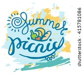 summer picnic typographic... | Shutterstock .eps vector #415781086