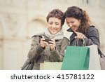 couple of women shop together... | Shutterstock . vector #415781122