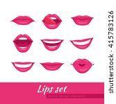 woman lips set. mouth with a... | Shutterstock .eps vector #415783126