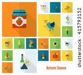 set of flat autumn icons.... | Shutterstock . vector #415793152