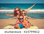 happy family having fun on the... | Shutterstock . vector #415799812