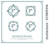 line letter f monogram. vector... | Shutterstock .eps vector #415809346