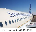 Small photo of Riyadh - March 01: Planes preparing for take off at Riyadh King Khalid Airport on March 01, 2016 in Riyadh, Saudi Arabia. Riyadh airport is home port for Saudi Arabian Airlines.