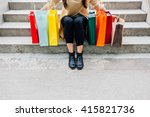 woman with colorful shopping