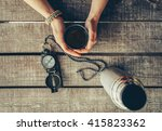 traveler woman holding a cup of ... | Shutterstock . vector #415823362