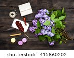 retro accessories and lilac... | Shutterstock . vector #415860202