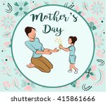 daughter gives her mother... | Shutterstock .eps vector #415861666