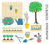 vector set of garden elements.... | Shutterstock .eps vector #415878712