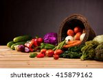 basket and table full of... | Shutterstock . vector #415879162