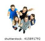 happy joyful group of friends... | Shutterstock . vector #415891792