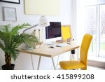 stylish workplace with computer ... | Shutterstock . vector #415899208