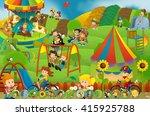 cartoon scene of kids playing...   Shutterstock . vector #415925788