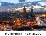 Stock photo aerial view of downtown amsterdam the netherlands during a dramatic beautiful sunset 415926292