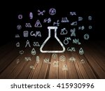 science concept  glowing flask... | Shutterstock . vector #415930996
