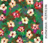 tropical floral pattern... | Shutterstock . vector #415931146