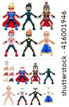 young avatar superheroes.... | Shutterstock .eps vector #416001946