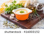 pumpkin cream soup in a bowl on ... | Shutterstock . vector #416003152