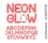 neon glow alphabet on white... | Shutterstock .eps vector #416023756