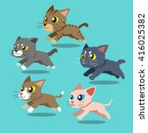 Set Of Cartoon Cats Running
