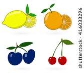 glossy fruit set | Shutterstock .eps vector #416033296