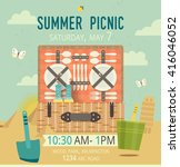 vector picnic on the beach card.... | Shutterstock .eps vector #416046052