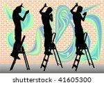 vector drawing graffiti artist. ...