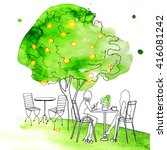 Park Cafe Watercolor People...
