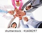 below shot of smiling co... | Shutterstock . vector #41608297
