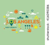 los angeles icons and... | Shutterstock .eps vector #416090386