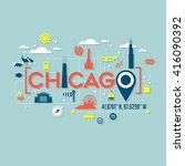 chicago icons and typography... | Shutterstock .eps vector #416090392