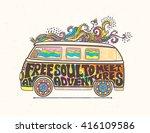 hippie style. ornamental retro... | Shutterstock .eps vector #416109586