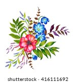 a set floral bouquets. four... | Shutterstock . vector #416111692