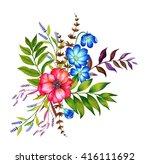 a set floral bouquets. four... | Shutterstock . vector #416111692