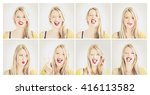 set of girl's portraits with... | Shutterstock . vector #416113582