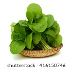 Fresh Spinach Leaves On White...