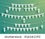 festive bunting flags with... | Shutterstock .eps vector #416161192