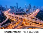 aerial view of a highway... | Shutterstock . vector #416163958