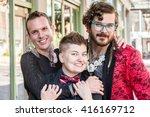 happy gender fluid trio of...   Shutterstock . vector #416169712